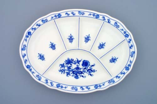Cibulák tanier delený 34,8 x 25 cm cibulový porcelán, originálny cibulák Dubí 1. akosť