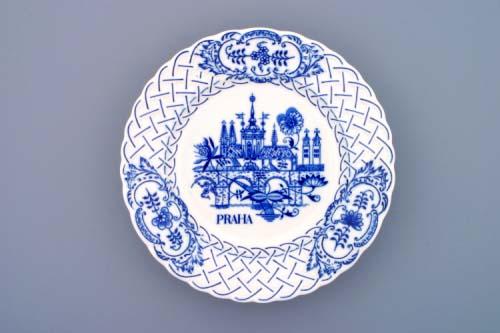 Cibulák tanier závesný reliéfny / Praha 24 cm cibulový porcelán, originálny cibulák Dubí 1. akosť