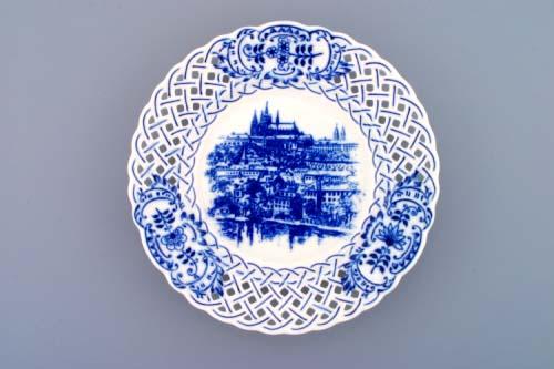 Cibulák tanier závesný prelamovaný / Praha 24 cm cibulový porcelán, originálny cibulák Dubí 1. akosť