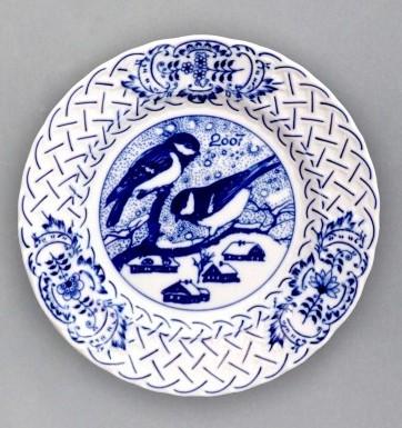 Cibulák tanier závesný reliéfny / výročný 2007 18 cm cibulový porcelán, originálny cibulák Dubí 1. akosť