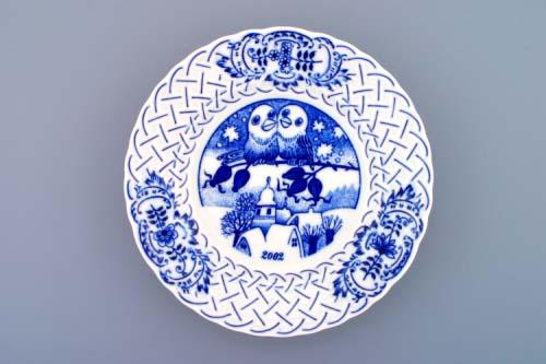 Cibulák tanier závesný reliéfny / výročný 2002 18 cm cibulový porcelán, originálny cibulák Dubí 1. akosť