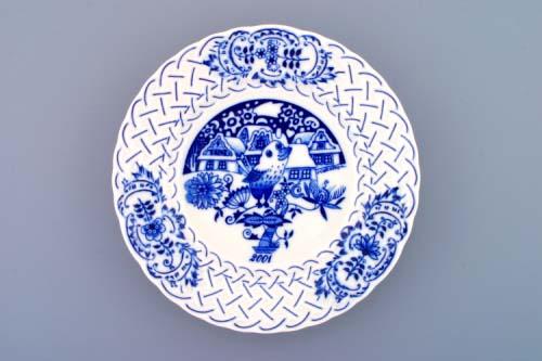 Cibulák tanier závesný reliéfny / výročný 2001 18 cm cibulový porcelán, originálny cibulák Dubí 1. akosť