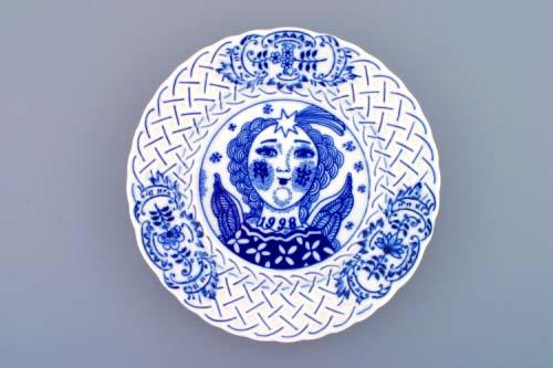 Cibulák tanier závesný reliéfny / výročný 1998 18 cm cibulový porcelán, originálny cibulák Dubí 1. akosť