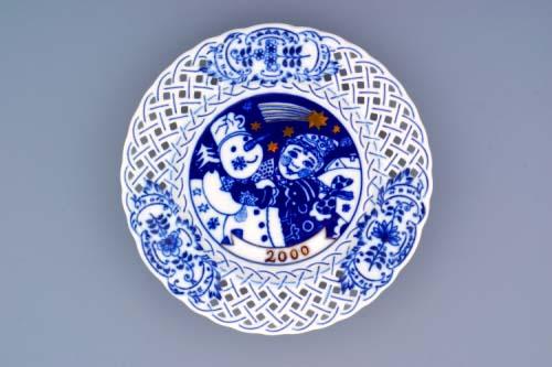 Cibulák tanier závesný prelamovaný / výročný 2000 18 cm cibulový porcelán, originálny cibulák Dubí 1. akosť