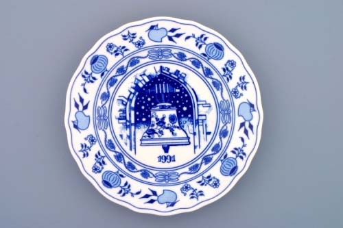 Cibulák tanier závesný dezertný / výročný 1991 19 cm cibulový porcelán, originálny cibulák Dubí 1. akosť