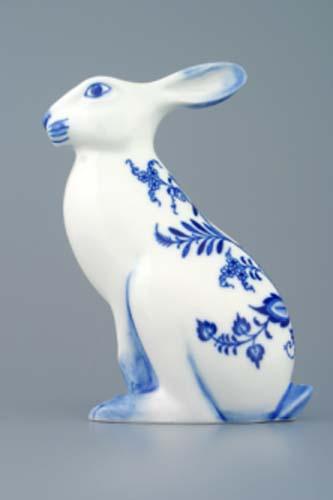 Cibulák zajac sediaci 17 cm cibulový porcelán, originálny cibulák Dubí 1. akosť