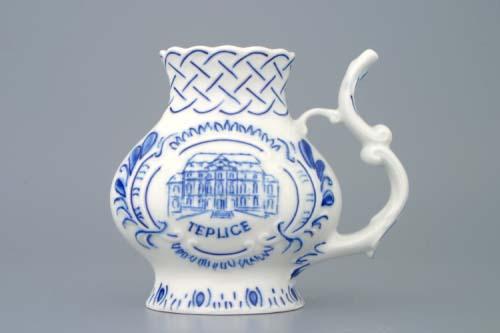 Cibulák pohárik kúpeľný reliéfny / Teplice 12 cm cibulový porcelán, originálny cibulák Dubí 1. akosť