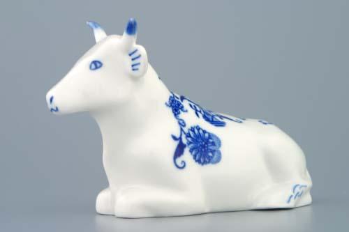Cibulák kravička ležiacia 9 x 17 cm cibuľový porcelán, originálny cibuľák Dubí 1. akosť