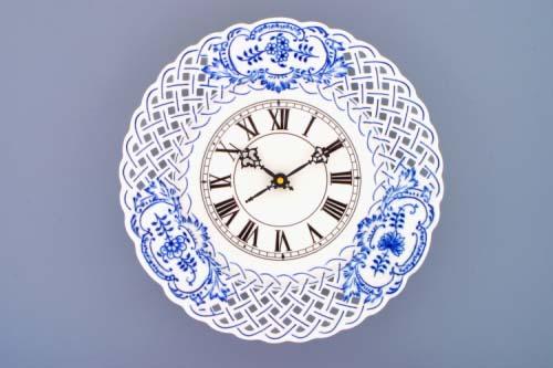 Cibulák hodiny mriežkované so strojčekom 27 cm cibulový porcelán, originálny cibulák Dubí, 1. akosť