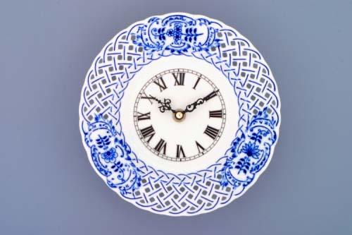 Cibulák hodiny mriežkované so strojčekom 18 cm cibulový porcelán, originálny cibulák Dubí, 1. akosť