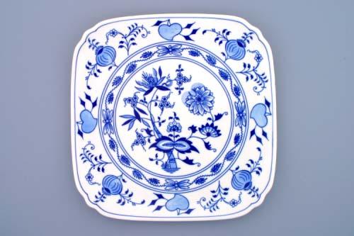 Cibulák tanier hranatý 29 x 29 cm cibulový porcelán, originálny cibulák Dubí 1. akosť
