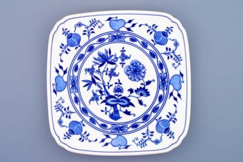 Cibulák tanier hranatý 21 x 21 cm cibulový porcelán, originálny cibulák Dubí 1. akosť