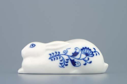 Cibulák zajac ležiaci 10 cm cibulový porcelán, originálny cibulák Dubí 1. akosť