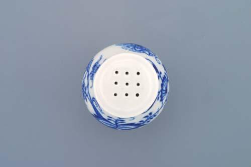 Cibulák soľnička sypacia s nápisom Soľ 7 cm cibulový porcelán, originálny cibulák Dubí 1. akosť