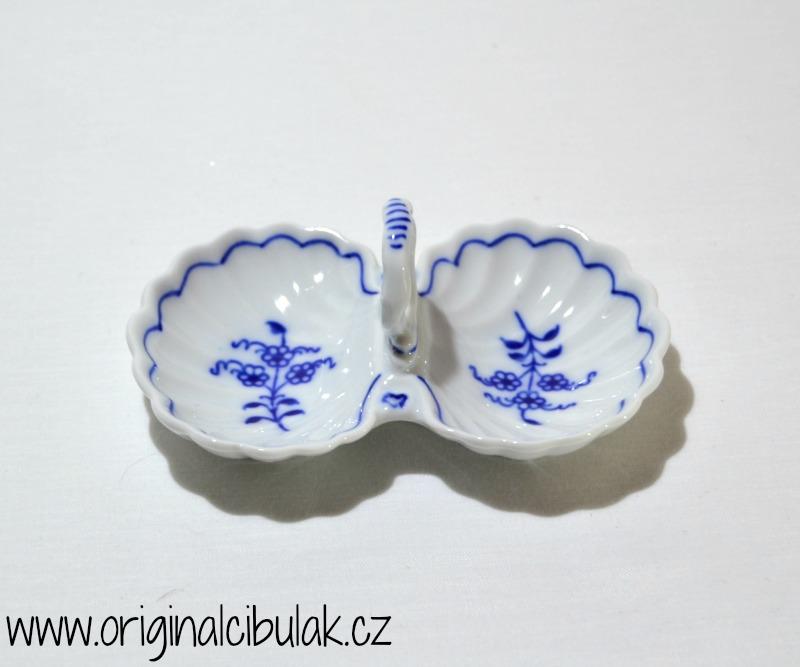 Cibulák Soľnička dvojdielna s úchytkou 12 x 8 cm cibulový porcelán, originálny porcelán Dubí, 1. akosť
