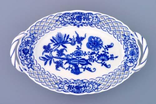 Cibulák košík prelamovaný cibulový porcelán 19 x 12 cm originálny cibulák Dubí 1. akosť
