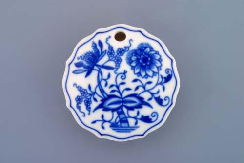 Cibulák dóza na sladidlo guľatá 7 cm cibulový porcelán, originálny cibulák Dubí, 1. akosť