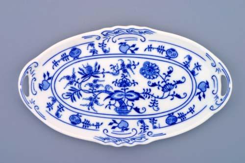 Cibulák podnos pod likérovú súpravu s uškami - mini 21 x 12 cm cibulový porcelán, originálny cibulák Dubí 1. akosť