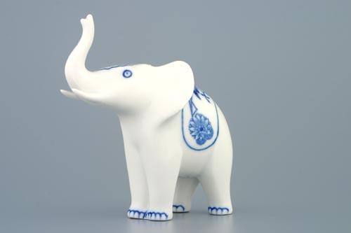 Cibulák slon - jednoduchá dekorácie 12 cm cibulový porcelán, originálny cibulák Dubí 1. akosť