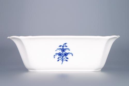 Cibulák misa štvorhranná s prelamovanými uchami 19 x 15 cm cibulový porcelán, originálny cibulák Dubí 1. akosť
