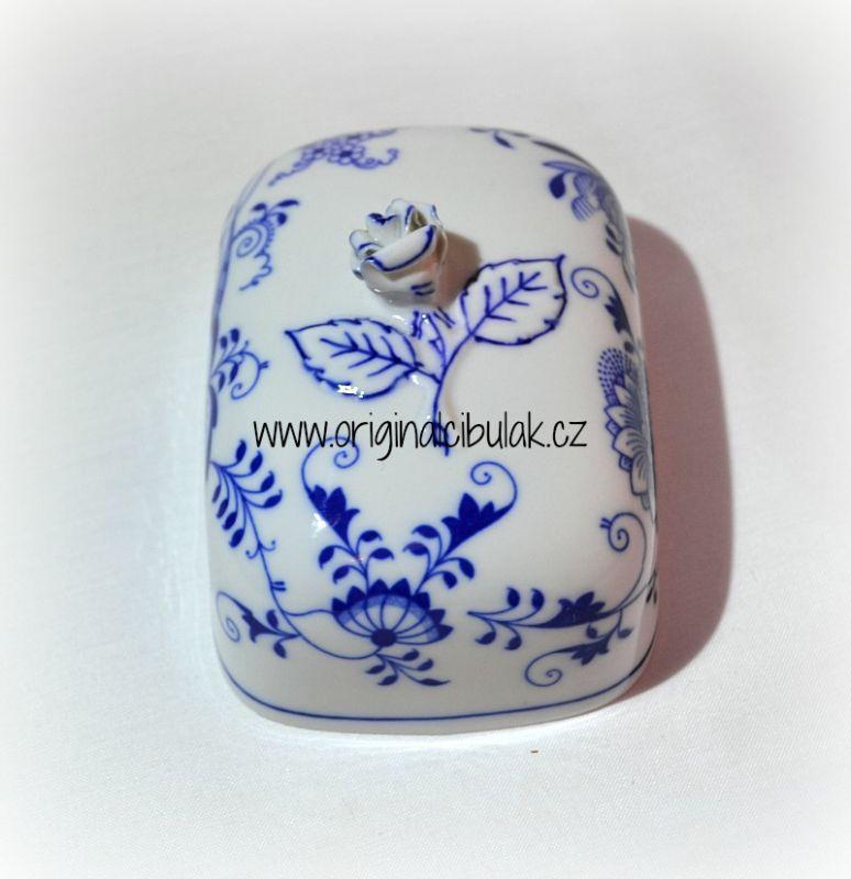 Cibulák maselnička hranatá malá / vršok 13 x 9 cm cibulový porcelán, originálny cibulák Dubí 1. akosť