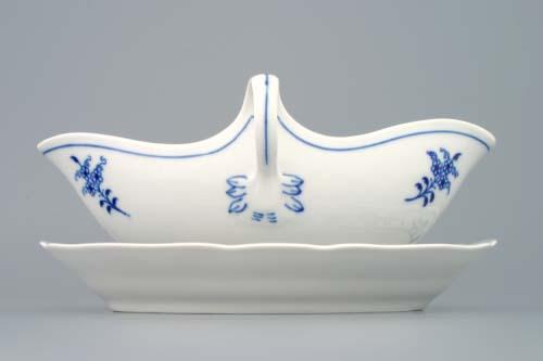 Cibulák omáčniky oválny s podstavcom a dvomi uchami 0,55 l cibulový porcelán, originálny cibulák Dubí 1. akosť