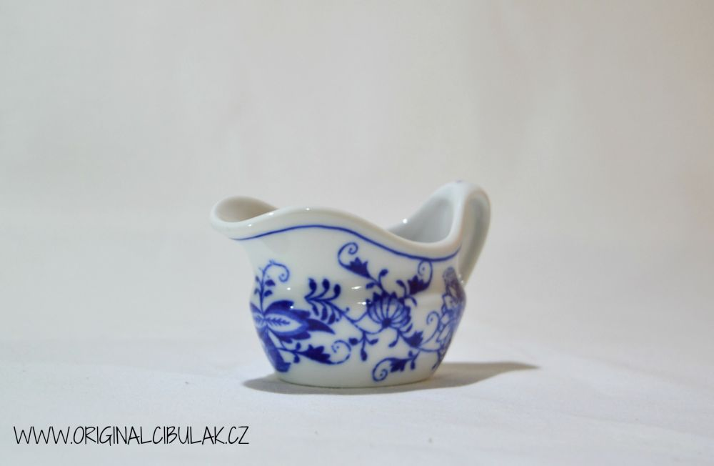 Cibulák omáčnik oválny, bez podstavca s uchom 0,05 l cibulový porcelán, originálny cibulák Dubí 1. akosť