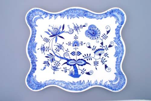 Cibulák podnos ozdobný 45 x 37 cm cibulový porcelán, originálny cibulák Dubí 1. akosť