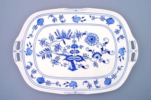Cibulák podnos štvorhranný s ušami 48 x 33 cm cibulový porcelán, originálny cibulák Dubí 1. akosť