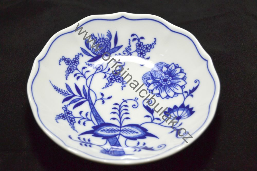 Cibulák podšálka B 14 cm cibulový porcelán, originálny cibulák Dubí 1. akosť