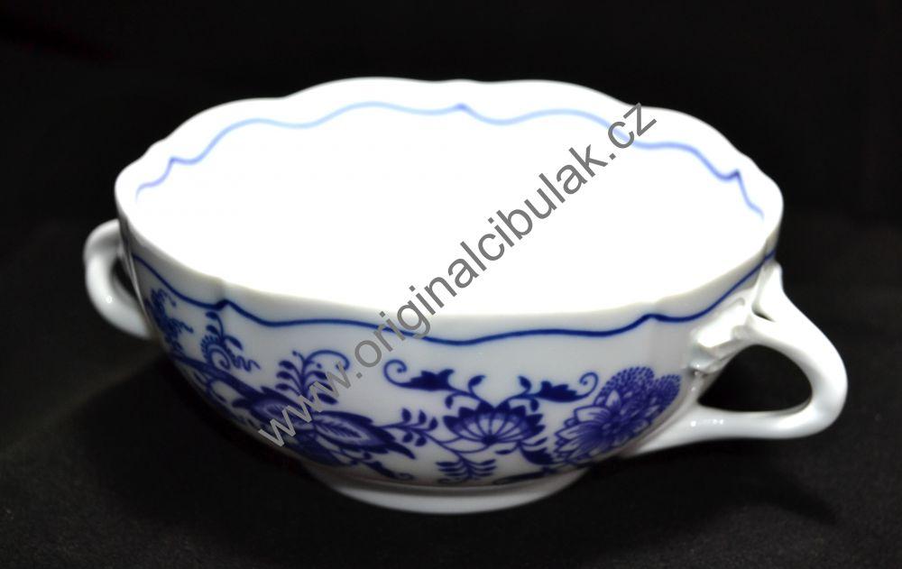 Cibulák šálka bujón s 2 uškami 0,30 l cibulový porcelán, originálny cibulák Dubí 1. akosť