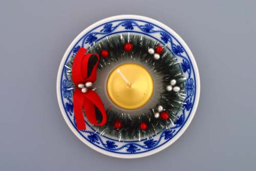 Cibulák svietnik vianočný osobný / s venčekom a sviečkou 13 cm cibulový porcelán, originálny cibulák Dubí 1. akosť
