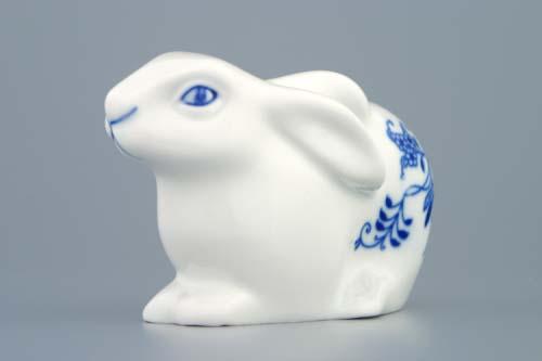 Cibulák zajac veľkonočný / ležiací 11,5 cm cibulový porcelán, originálny cibulák Dubí 1. akosť