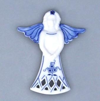 Cibulák vianočná ozdoba - anjel 11 x 8,5 cm cibulový porcelán, originálny cibulák Dubí 1. akosť