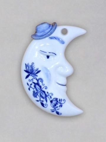 Cibulák vianočná ozdoba / obojstranná - mesiac cibulový porcelán, originálny cibulák Dubí 1. akosť