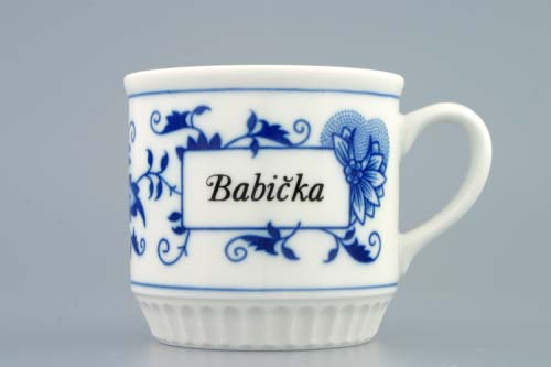 Cibulák hrnček Leo s nápisom podľa špecifikácie 0,30 l cibulový porcelán, originálny cibulák Dubí, 1. akosť