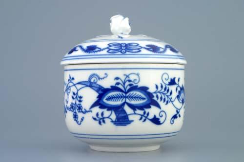 Cibulák Cukornička bez ušiek s viečkom a bez výrezu 0,30 l cibulový porcelán, originálny cibulák Dubí, 1. akosť