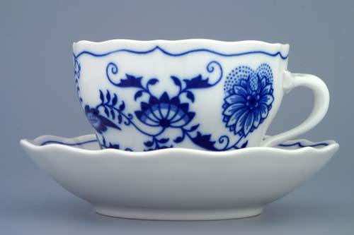 AKCIA -20% Cibulák šálka a podšálka B+B 0,20 l cibuľový porcelán, originálny cibulák Dubí, 1. akosť