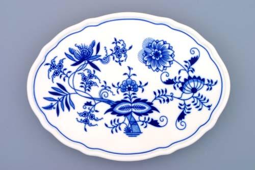 Cibulák podnos oválny na troch nôžkach 24,5cm originalny cibulak 1 jakost cibulový porcelán, originálny cibulák Dubí 1. akosť