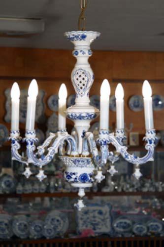 Cibulák luster šestiramenný (komplet) 5340 g cibulový porcelán, originálny cibulák Dubí 1. akosť