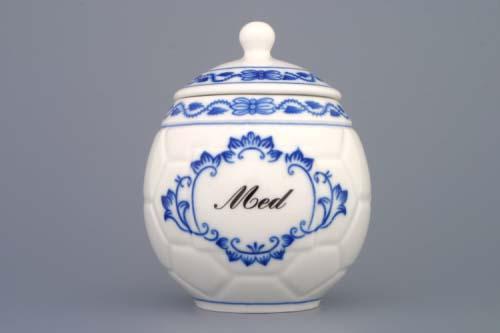 Cibulák hrnček na med s viečkom nápisom Med 0,40l cibulový porcelán originálny cibulák Dubí 1. akosť