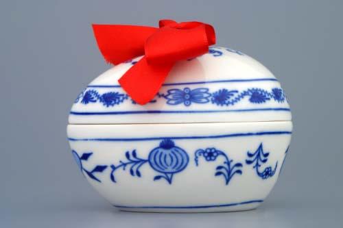 Cibulák vajíčko s prekvapením cibulový porcelán 9,5 x 6,7 cm originálny cibulák Dubí 1. akosť