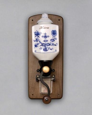 Cibulák mlynček na kávu závesný s nápisom Káva 35 cm cibulový porcelán, originálny cibulák Dubí 1. akosť