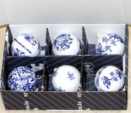 Cibulák vianočná guľôčky / sada 6 ks cibulový porcelán, originálny cibulák Dubí 1. akosť