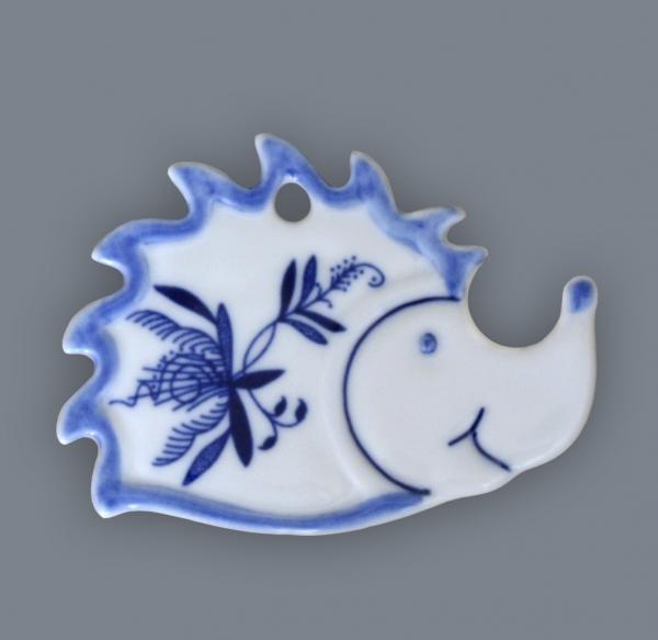 Cibulák ježko - magnetka 6 x 8 cm cibulový porcelán, originálny cibulák Dubí 1. akosť