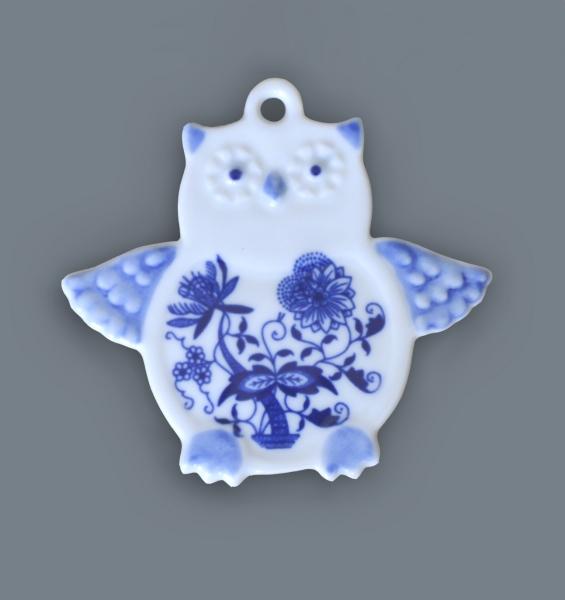 Cibulák sova - magnetka 9 x 8,5 cm cibulový porcelán, originálny cibulák Dubí 1. akosť
