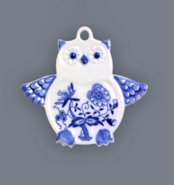 Cibulák vianočná ozdoba / obojstranná - sova 9 cm cibulový porcelán, originálny cibulák Dubí 1. akosť