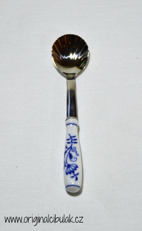 Cibulák lyžička na cukor / balenie 1 ks kartón 15cm - originálny cibulák, cibuľový vzor-porcelánová časť-Český porcelán a.s. Dubí, kovová časť - Toner a.s. 1.jakost