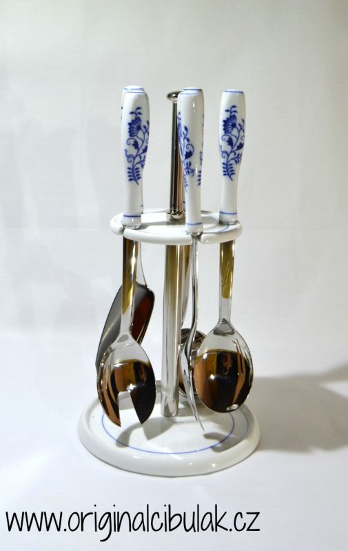 Cibulák stolná súprava 6 dielna - originálny cibulák, porcelánová časť-Český porcelán a.s. Dubí, kovová časť - Toner a.s. 1.jakost