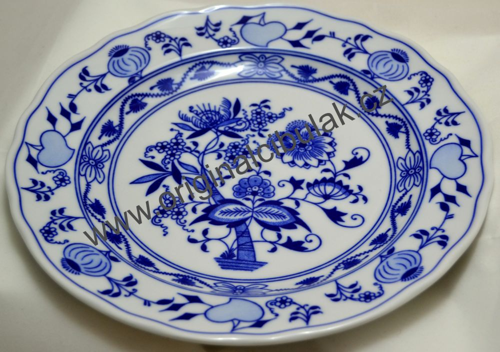 AKCIA - 16% Cibulák tanier plytký 24 cm cibulový porcelán, originálny cibuľák Dubí 1. akosť